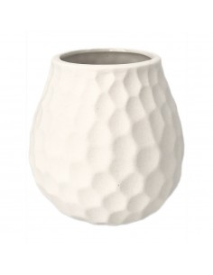 Ceramic patterned gourd - white